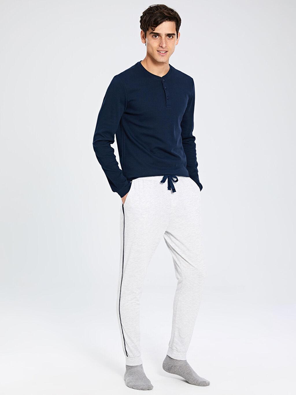 %50 Pamuk %50 Polyester Pijamalar Standart Standart Kalıp Jogger Pijama Alt