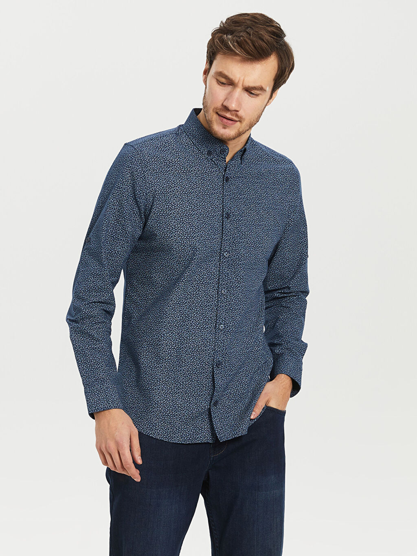 %100 Pamuk Dar Desenli Uzun Kol Gömlek Düğmeli Slim Fit Desenli Oxford Gömlek