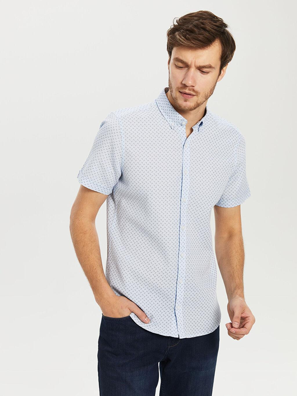 %100 Pamuk Dar Desenli Kısa Kol Gömlek Düğmeli Slim Fit Kısa Kollu Poplin Gömlek