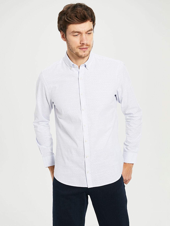 %100 Pamuk Dar Uzun Kol Düz Gömlek Düğmeli Düz Dar Uzun Kollu Gömlek