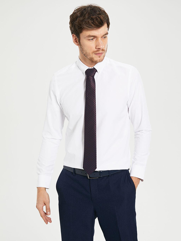 Beyaz Slim Fit Armürlü Uzun Kollu Gömlek 0S3330Z8 LC Waikiki