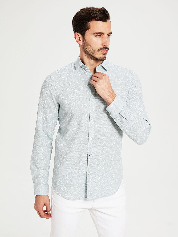 %100 Pamuk Dar Desenli Uzun Kol Gömlek Düğmesiz Slim Fit Desenli Armürlü Gömlek