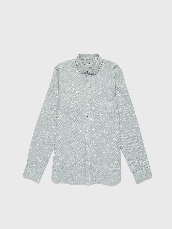 Yeşil Slim Fit Desenli Armürlü Gömlek