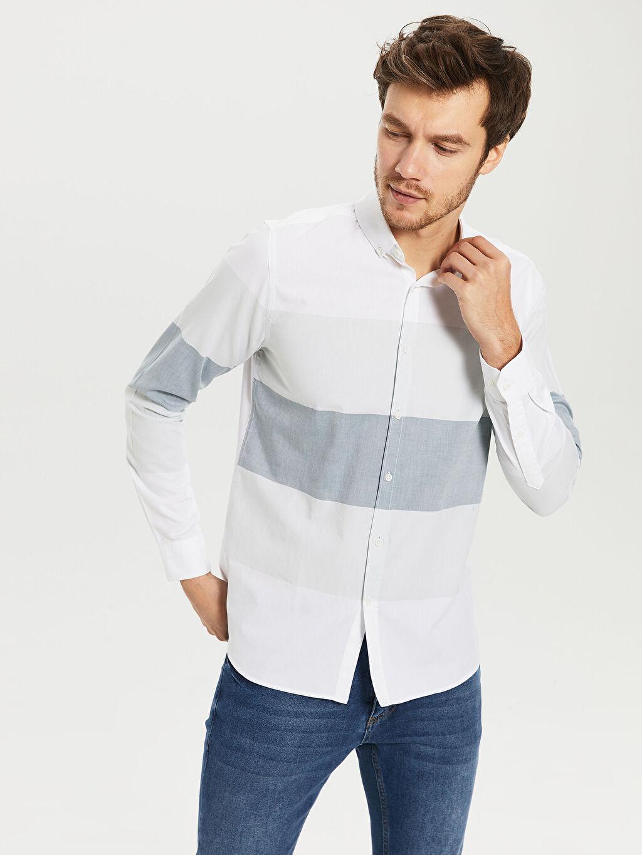 %100 Pamuk Dar Çizgili Uzun Kol Gömlek Düğmeli Slim Fit Çizgili Oxford Gömlek