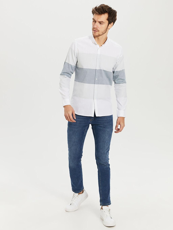 %100 Pamuk Slim Fit Çizgili Oxford Gömlek