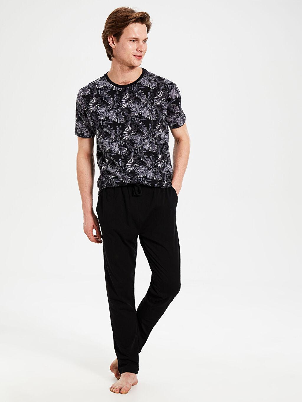 Siyah Standart Kalıp Penye Pijama Takımı 0S3454Z8 LC Waikiki