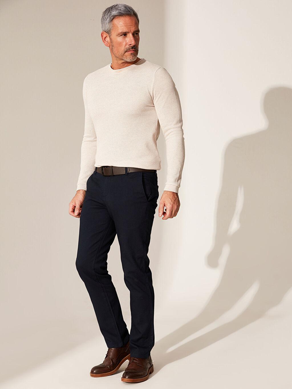 %97 Pamuk %3 Elastan %100 Poliüretan Dar Pilesiz Pantolon Normal Bel Slim Fit Armürlü Pantolon