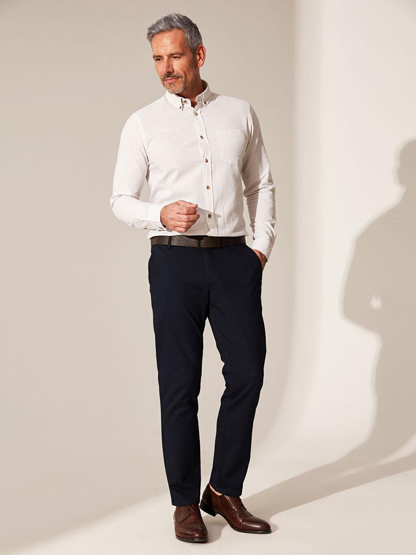 Lacivert Slim Fit Armürlü Pantolon 0S3608Z8 LC Waikiki