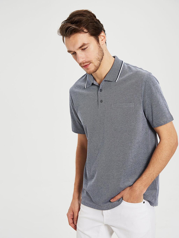 %100 Pamuk Düz Standart Kısa Kol Tişört Polo Polo Yaka Basic Tişört