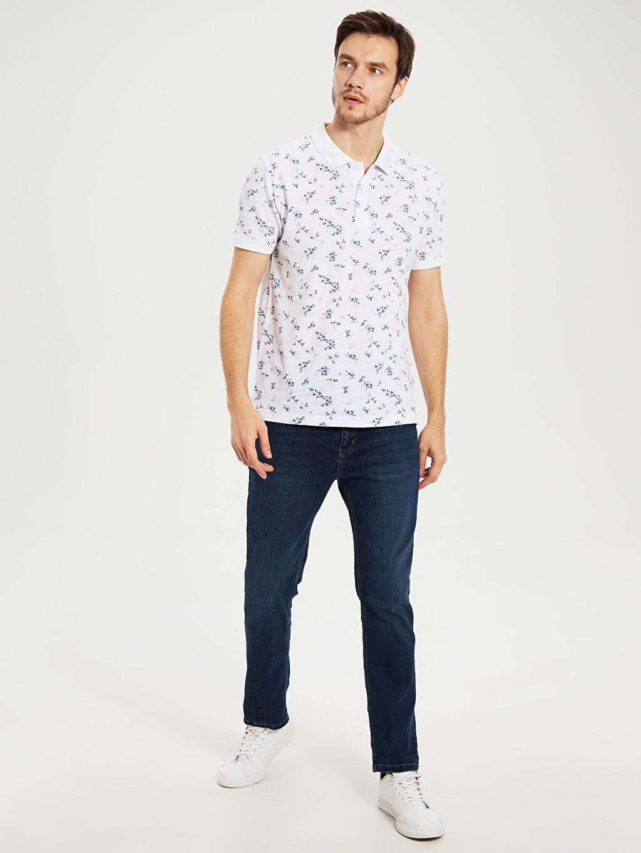 %100 Pamuk Polo Yaka Desenli Tişört