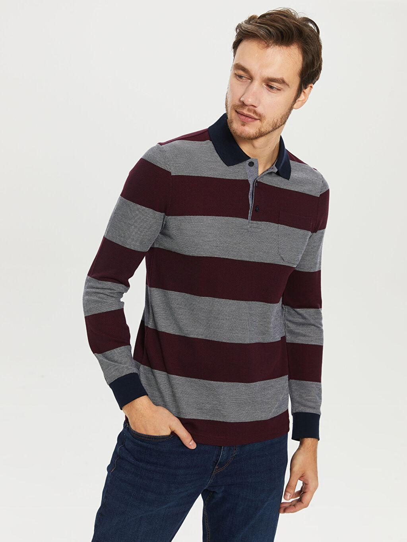 %48 Polyester %22 Viskoz %30 Akrilik Çizgili Standart Uzun Kol Tişört Polo Çizgili Uzun Kollu Polo Tişört