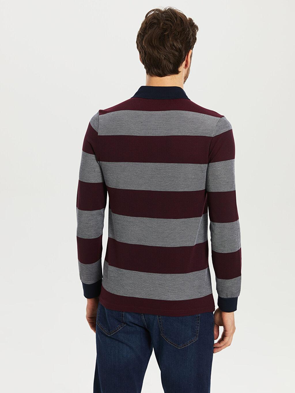Erkek Çizgili Uzun Kollu Polo Tişört