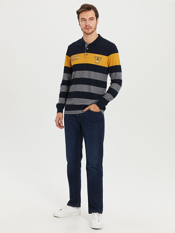 %50 Polyester %20 Viskoz %30 Akrilik Çizgili Uzun Kollu Polo Tişört