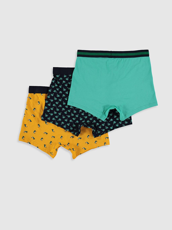 %95 Pamuk %5 Elastan Standart İç Giyim Alt Esnek Kumaş Standart Kalıp Desenli Boxer 3'lü