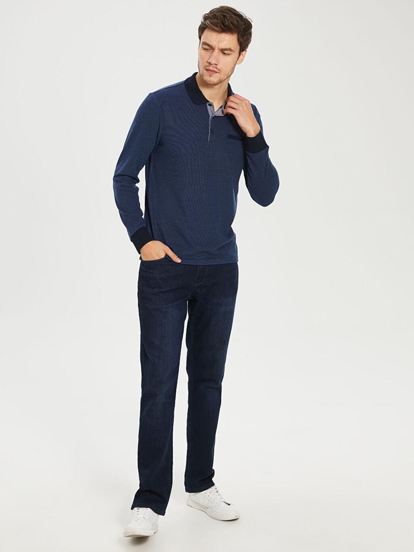 %48 Polyester %22 Viskoz %30 Akrilik Polo Yaka Uzun Kollu Dokulu Tişört