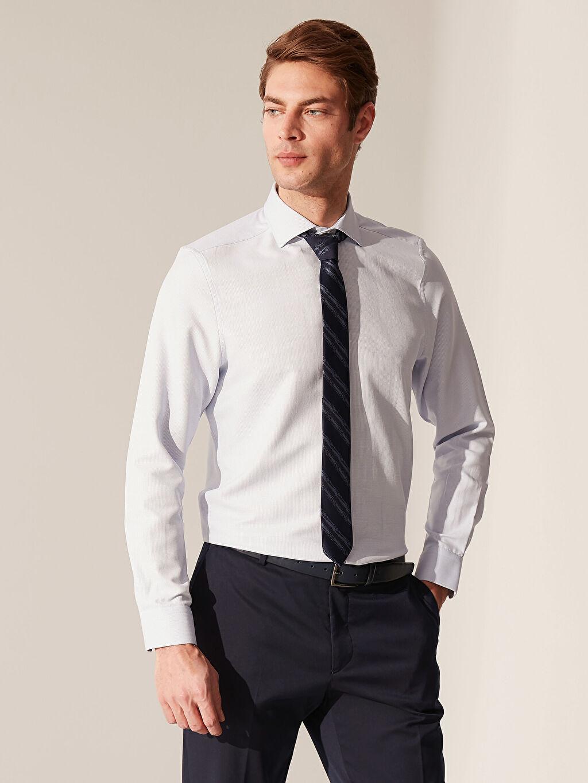 %58 Pamuk %42 Polyester %100 Polyester Dar Düz Uzun Kol Gömlek Düğmesiz Slim Fit Klasik Gömlek