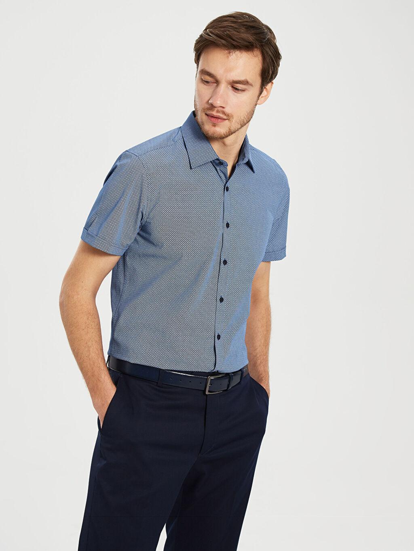 %50 Pamuk %50 Polyester Dar Desenli Kısa Kol Gömlek Düğmesiz Slim Fit Desenli Kısa Kollu Gömlek
