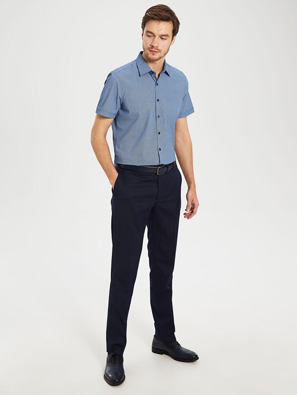 %50 Pamuk %50 Polyester Slim Fit Desenli Kısa Kollu Gömlek