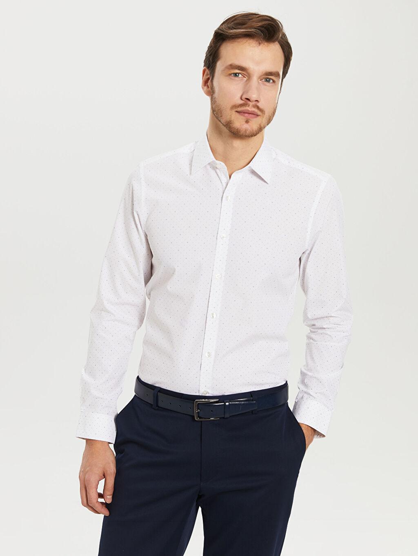%54 Pamuk %46 Polyester Dar Desenli Uzun Kol Gömlek Düğmesiz Desenli Dar Uzun Kollu Gömlek