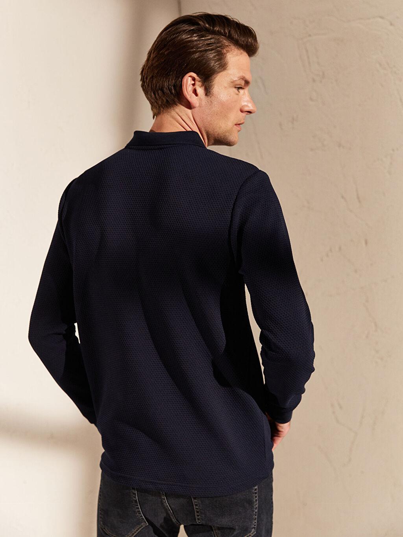 %32 Pamuk %63 Polyester %5 Elastan Polo Yaka Basic Uzun Kollu Tişört