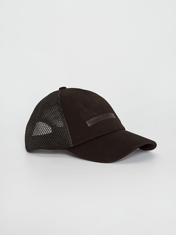 Siyah Yazı Detaylı File Şapka 0S4184Z8 LC Waikiki