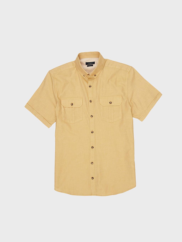 LC Waikiki Sarı Regular Fit Gabardin Kısa Kollu Gömlek