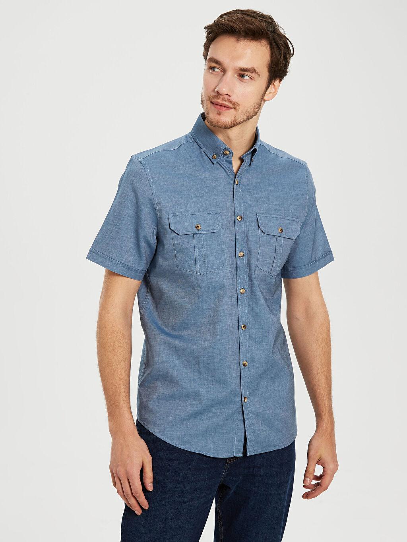 %100 Pamuk Normal Kısa Kol Düz Gömlek Düğmeli Regular Fit Gabardin Kısa Kollu Gömlek