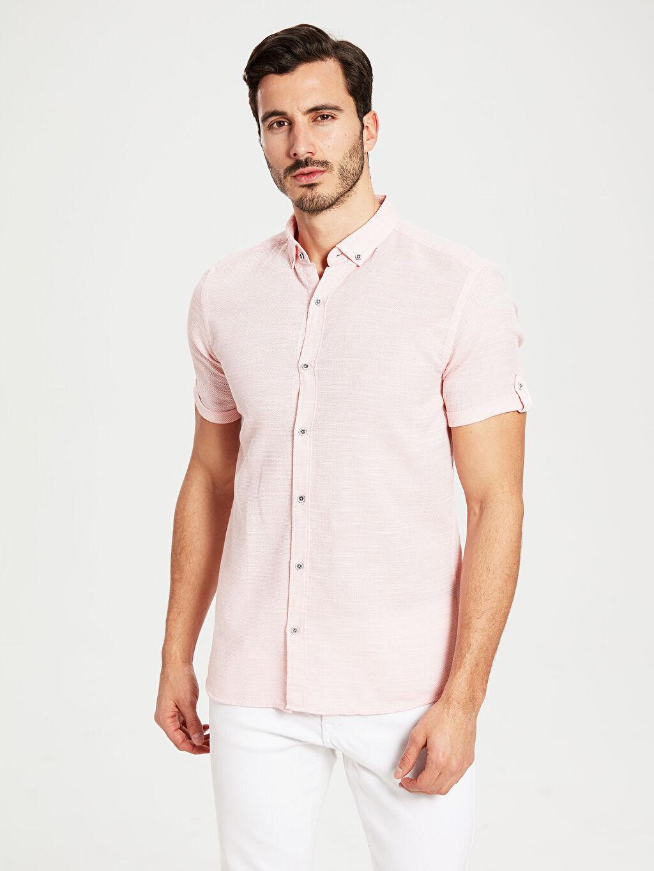 %100 Pamuk Dar Düz Kısa Kol Gömlek Düğmeli Slim Fit Armürlü Kısa Kollu Gömlek
