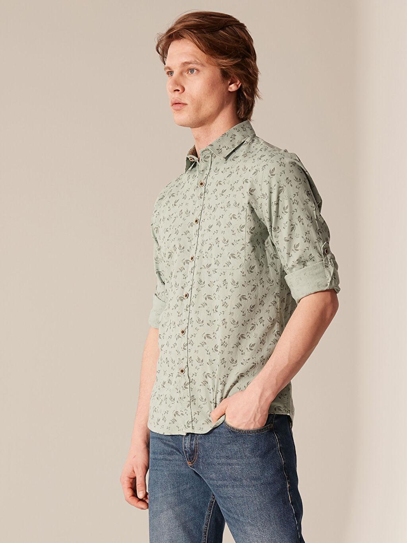 Yeşil Ekstra Slim Fit Desenli Gömlek 0S4553Z8 LC Waikiki