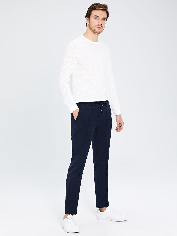 %50 Pamuk %50 Polyester Slim Fit Bisiklet Yaka Uzun Kollu Tişört