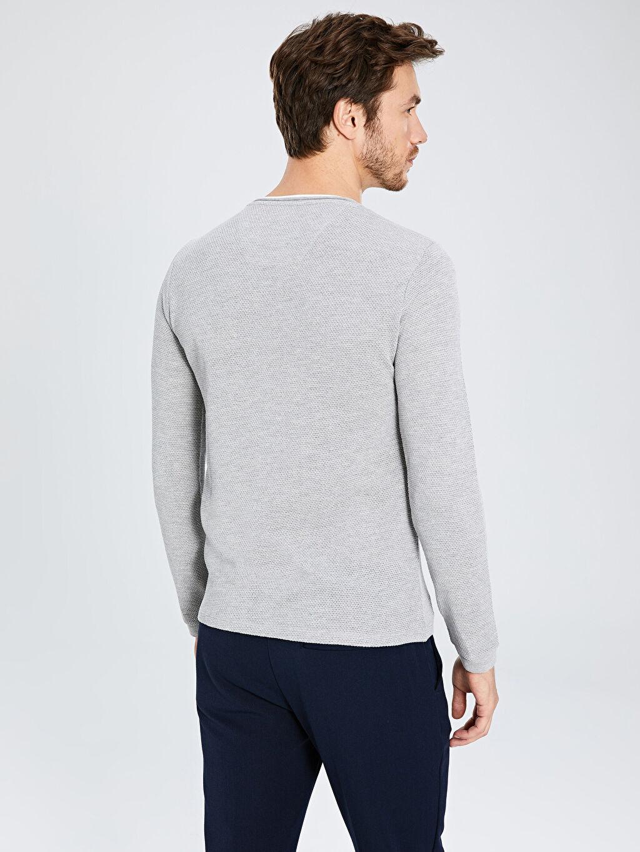 %51 Pamuk %49 Polyester Slim Fit Bisiklet Yaka Uzun Kollu Tişört