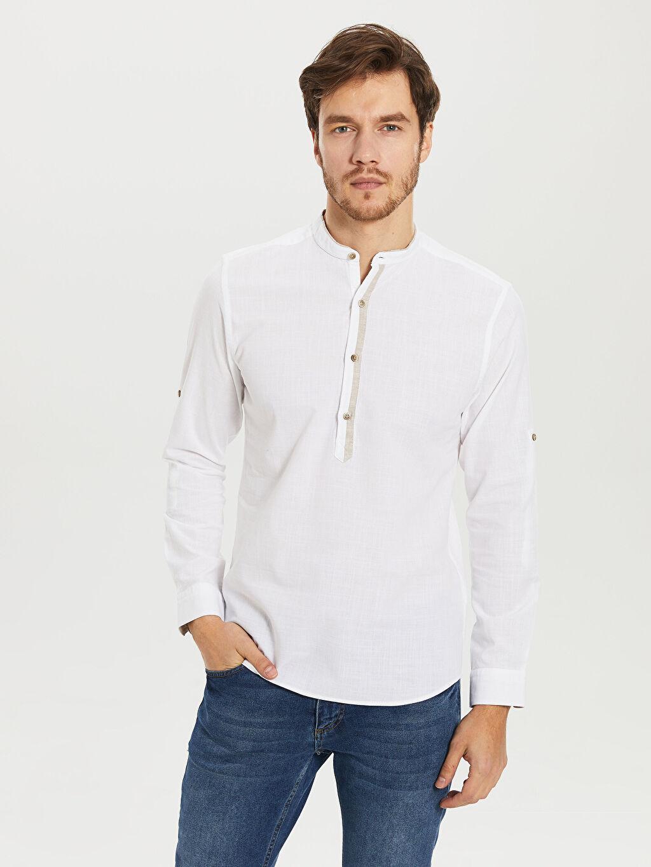 Beyaz Düz Dar Uzun Kollu Gömlek 0S4751Z8 LC Waikiki