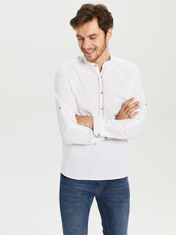 %100 Pamuk Dar Düz Uzun Kol Gömlek Düğmeli Düz Dar Uzun Kollu Gömlek