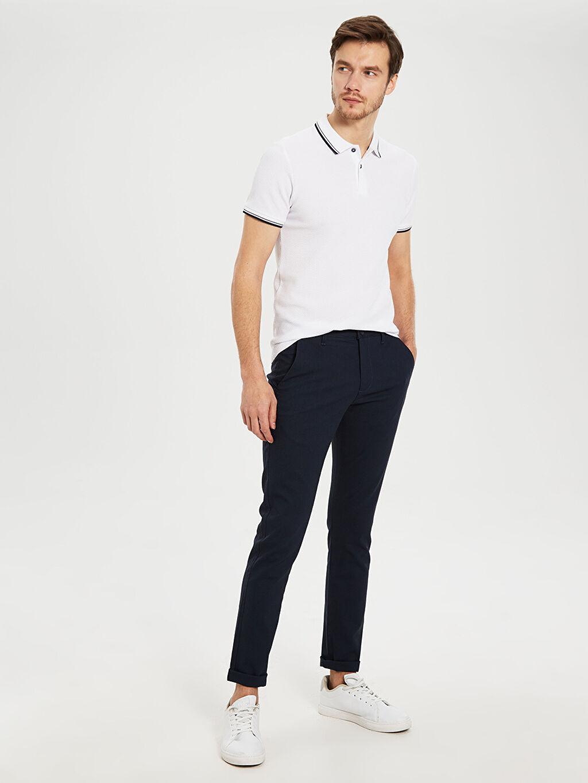 %98 Pamuk %2 Elastan Dar Normal Bel Pilesiz Pantolon Slim Fit Bilek Boy Pantolon