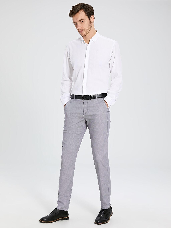 %66 Pamuk %30 Polyester %4 Elastan Normal Bel Dar Pilesiz Pantolon Slim Fit Pantolon
