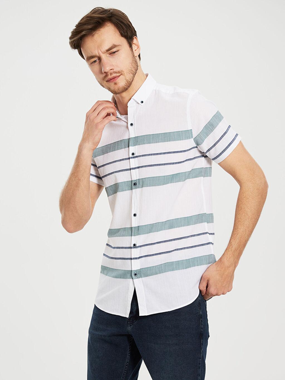 %100 Pamuk Dar Çizgili Kısa Kol Gömlek Düğmeli Slim Fit Çizgili Kısa Kollu Gömlek