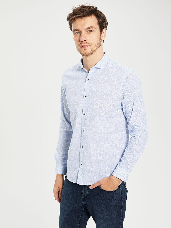 Mavi Slim Fit Pamuklu Gömlek 0S4919Z8 LC Waikiki