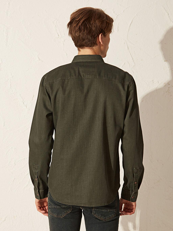 %77 Pamuk %23 Polyester Slim Fit Jean Gömlek