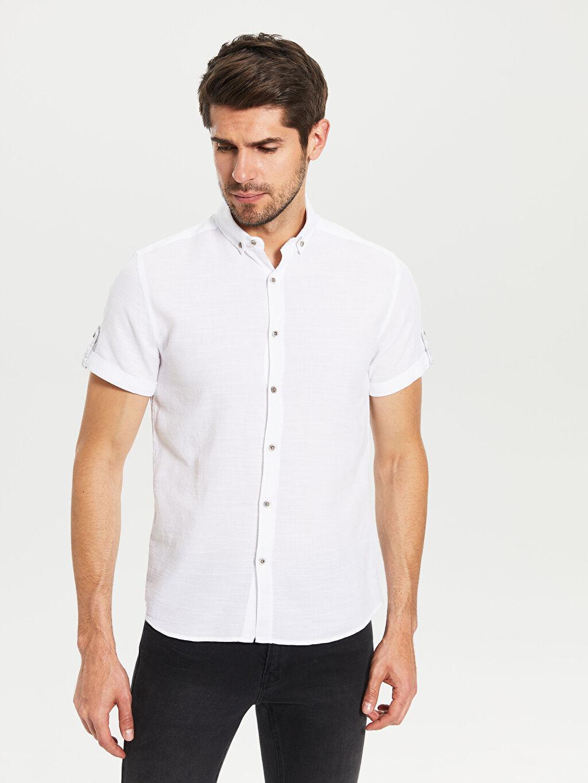 %100 Pamuk Dar Düz Kısa Kol Gömlek Düğmeli Slim Fit Kısa Kollu Armürlü Gömlek