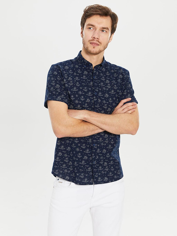 %100 Pamuk Desenli Kısa Kol Gömlek Düğmeli Dar Slim Fit Desenli Kısa Kollu Gömlek