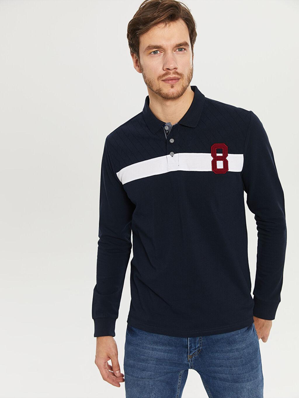 %100 Pamuk Baskılı Bol Uzun Kol Tişört Polo Baskılı Bol Uzun Kollu Polo Tişört