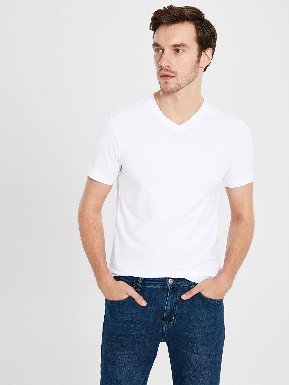 Beyaz V Yaka Basic Tişört 0S5279Z8 LC Waikiki