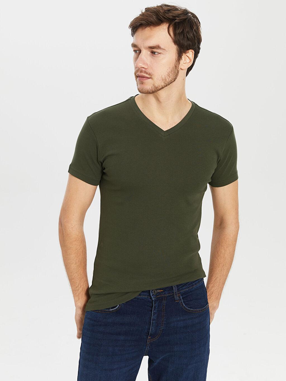 %100 Pamuk Düz Kısa Kol Tişört V yaka Dar V Yaka Basic Tişört