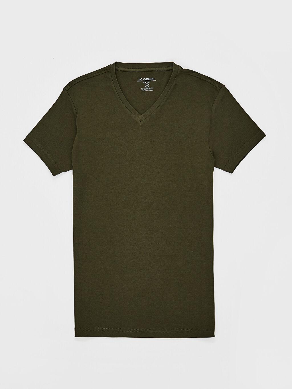 LC Waikiki Haki V Yaka Basic Tişört