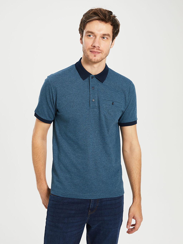 %50 Pamuk %50 Polyester Düz Standart Kısa Kol Tişört Polo Polo Yaka Kısa Kollu Penye Tişört