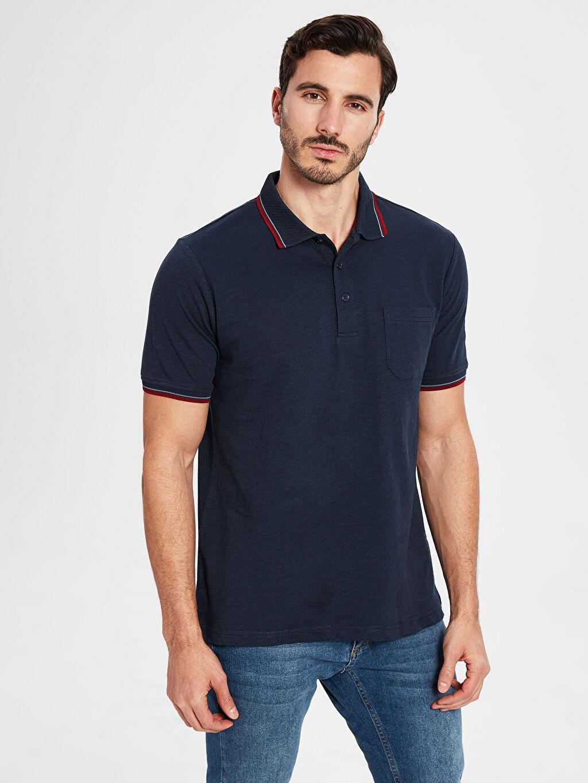 %100 Pamuk Düz Bol Kısa Kol Tişört Polo Polo Yaka Basic Tişört