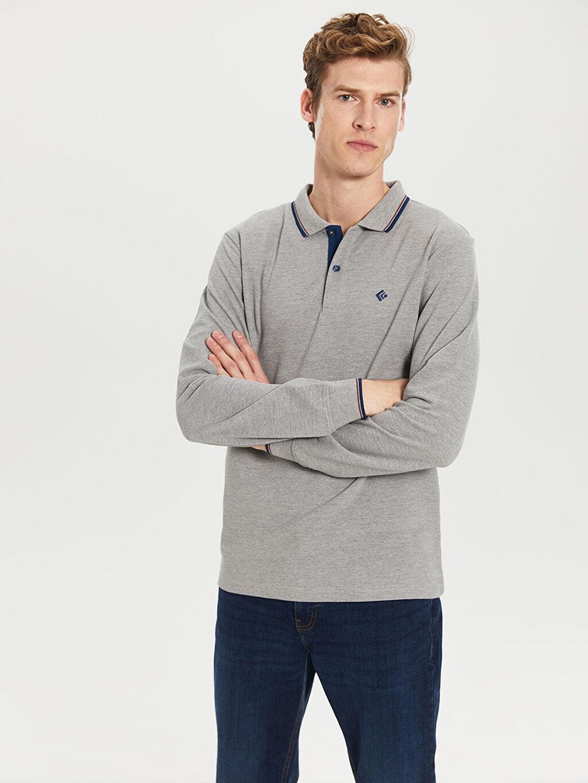 %49 Pamuk %51 Polyester Standart Düz Uzun Kol Tişört Polo Düz Uzun Kollu Polo Tişört
