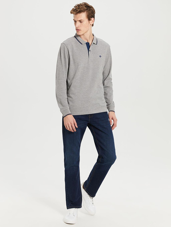 %49 Pamuk %51 Polyester Düz Uzun Kollu Polo Tişört