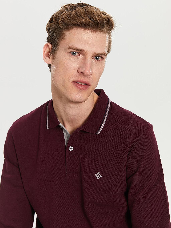 %100 Pamuk Standart Düz Uzun Kol Tişört Polo Düz Uzun Kollu Polo Tişört