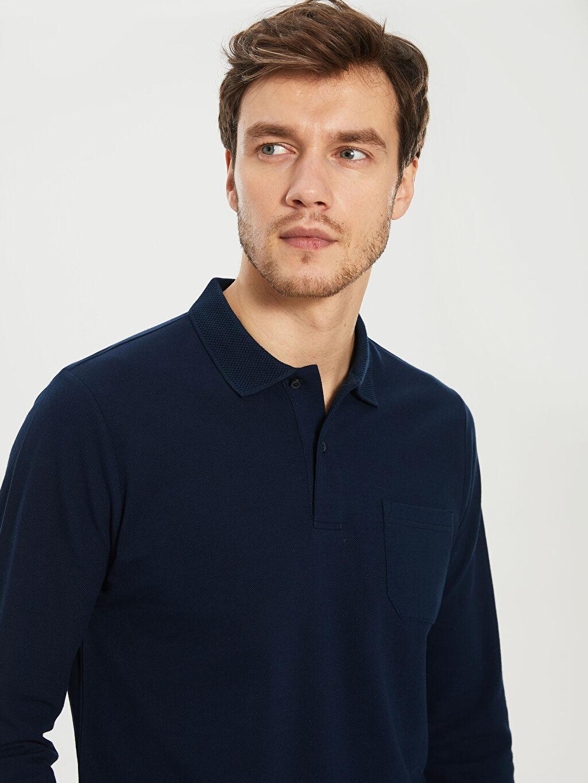 %100 Pamuk Düz Standart Uzun Kol Tişört Polo Polo Yaka Uzun Kollu Tişört